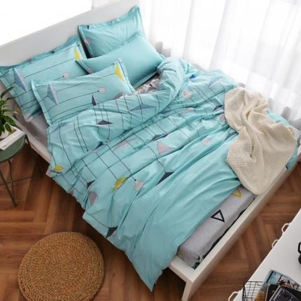 摩妮卡 100%纯棉北欧宜家风简约四件套 床单款 万家灯火