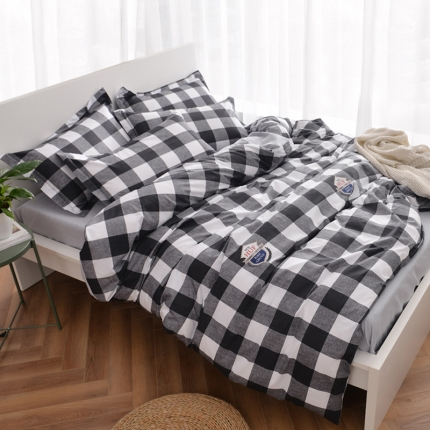 摩妮卡 100%纯棉北欧宜家风简约四件套床单款英伦格调-黑白