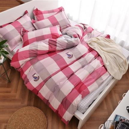 摩妮卡 100%纯棉北欧宜家风简约四件套床单款英伦格调-红白