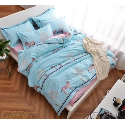 摩妮卡 100%纯棉北欧宜家风简约四件套 床单款 斑马生活
