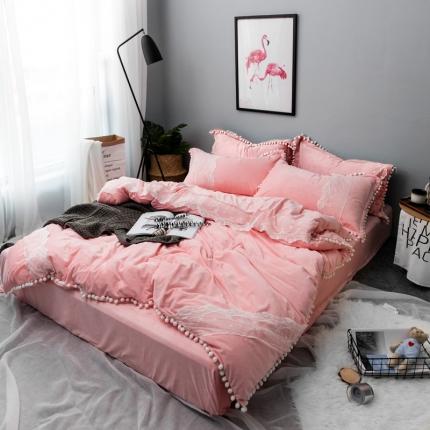 摩妮卡 小清新蕾丝球球水晶绒四件套粉色