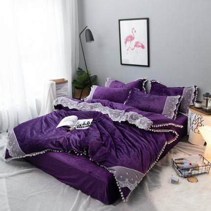 摩妮卡 小清新蕾丝球球水晶绒四件套紫色