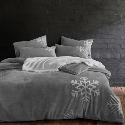 摩妮卡 欧式毛巾绣刺绣水晶绒宝宝绒四件套床单款 雪纷飞-灰色