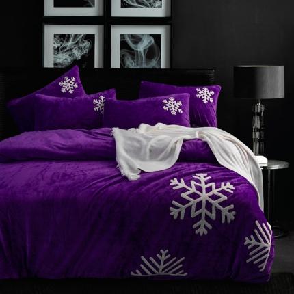 摩妮卡 欧式毛巾绣刺绣水晶绒宝宝绒四件套床单款 雪纷飞-深紫