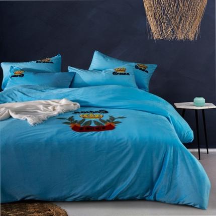 摩妮卡欧式毛巾绣刺绣水晶绒宝宝绒四件套床单款 美仑美奂-天蓝