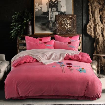 摩妮卡 北欧小清新毛巾绣水晶绒四件套 朝气蓬勃-粉色