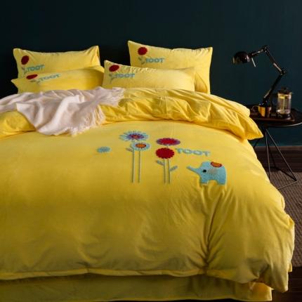 摩妮卡 北欧小清新毛巾绣水晶绒四件套 朝气蓬勃-黄色