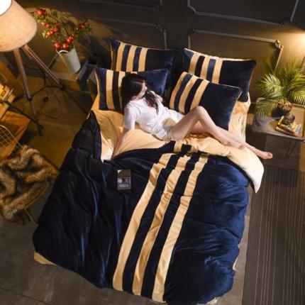 (总)摩妮卡 2017法兰绒运动风拼接款四件套床笠款