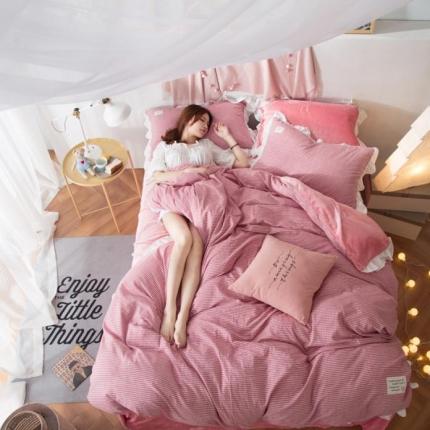 摩妮卡 2017韩版水洗棉法兰绒四件套 细条纹-粉红