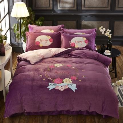 摩妮卡 贴布绣水晶绒四件套玫瑰花开紫