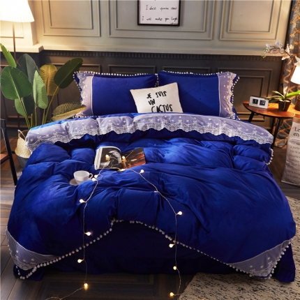 摩妮卡 小清新蕾丝球球水晶绒四件套 蓝色