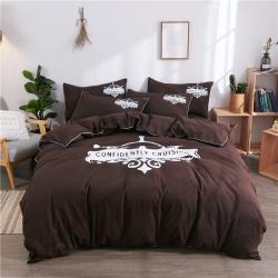伊家纺 个性简约韩版纯色床单款三件套四件套学生套件