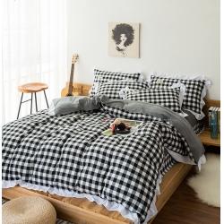 一比一(1:1)家纺 色织水洗棉花边四件套黑白中格