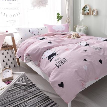 棉语家纺 全棉ABC三版卡通风四件套床单款 贝利萌兔