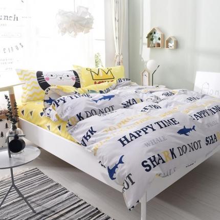 棉语家纺 全棉ABC三版卡通风四件套床单款 海滩假日