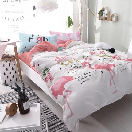 棉语家纺 全棉ABC三版卡通风四件套床单款 红色恋人
