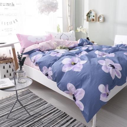 棉语家纺 全棉ABC三版卡通风四件套床单款 花开半夏