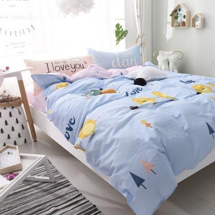棉语家纺 全棉ABC三版卡通风四件套床单款 萌小鸡
