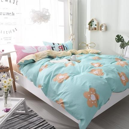 棉语家纺 全棉ABC三版卡通风四件套床单款 那些花儿