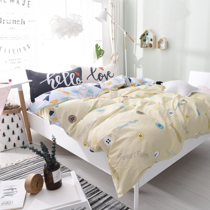 棉语家纺 全棉ABC三版卡通风四件套床单款 闲趣时光
