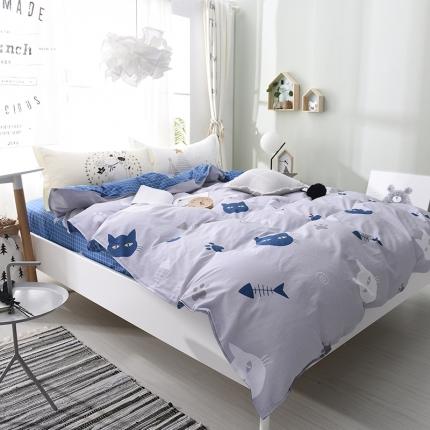 棉语家纺 全棉ABC三版卡通风四件套床单款 小猫钓鱼