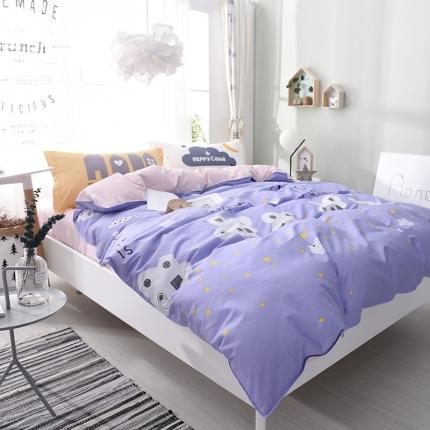 棉语家纺 全棉ABC三版卡通风四件套床单款 幸福起点