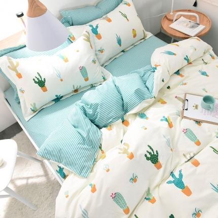 棉语家纺致青春系列13070全棉小清新四件套床单款 静怡
