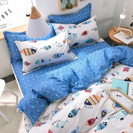 棉语家纺 致青春系列13070全棉小清新四件套床单款深海遨游