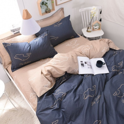棉语家纺致青春系列13070全棉小清新四件套床单款 海豚恋人
