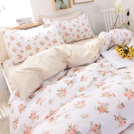 棉语家纺致青春系列13070全棉小清新四件套床单款婉美