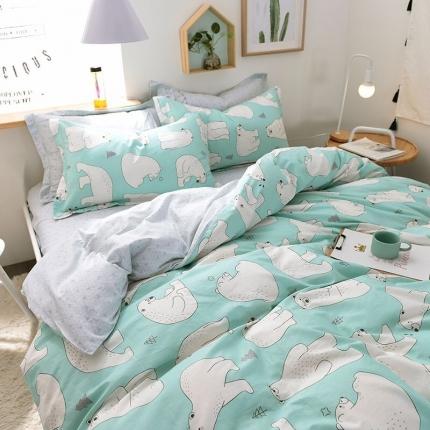 棉语家纺致青春系列13070全棉小清新四件套床单款 北极之恋