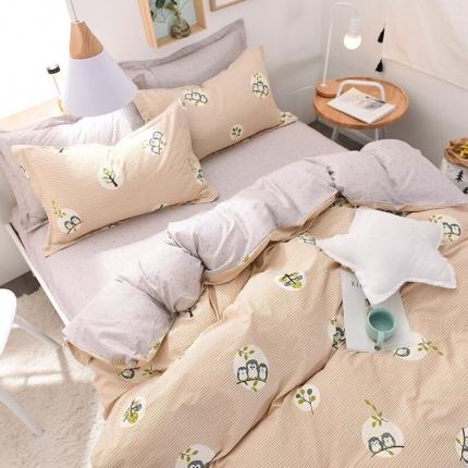 棉语家纺致青春系列13070全棉小清新四件套床单款莺歌舞曲