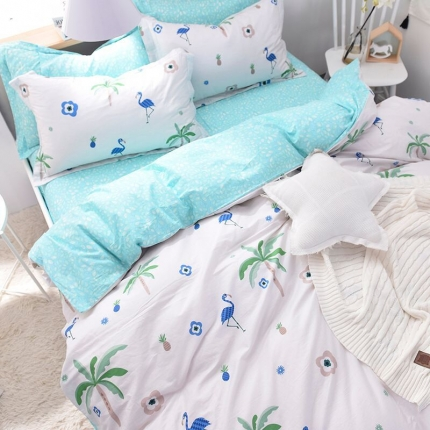棉语家纺致青春系列13070全棉小清新四件套床单款 爱巢