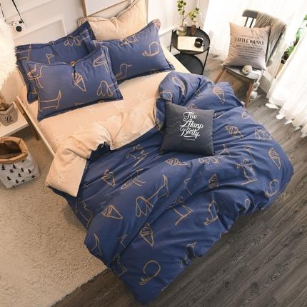 棉语家纺 全棉生态磨毛四件套床单款简单涂鸦