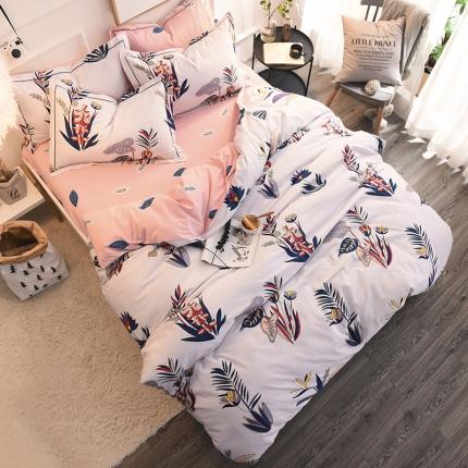 棉语家纺 全棉生态磨毛四件套床单款卡莉尔