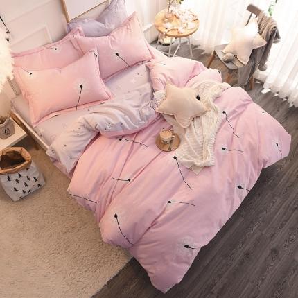 棉语家纺 全棉生态磨毛四件套床单款蒲公飞舞