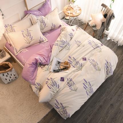 棉语家纺 全棉生态磨毛四件套床单款普罗旺斯