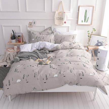 棉语家纺 简约时尚全棉四件套床单款 宝贝熊