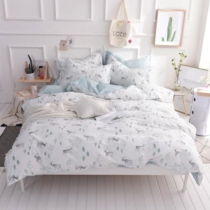 棉语家纺 简约时尚全棉四件套床单款 鹿可可