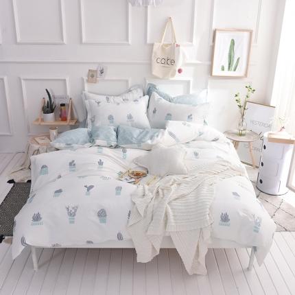 棉语家纺 简约时尚全棉四件套床单款 素颜