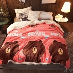 溫寧家紡 多功能羊羔絨法萊絨毯子毛毯(可做被套) 嘟嘟熊