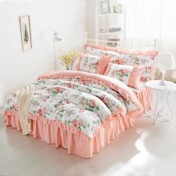 (总)爱妮玖玖全棉韩式夹棉床罩配韩式被套四件套 (不含包装)