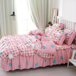 (总)爱妮玖玖全棉韩式单层床罩配双针被套四件套 (不含包装)