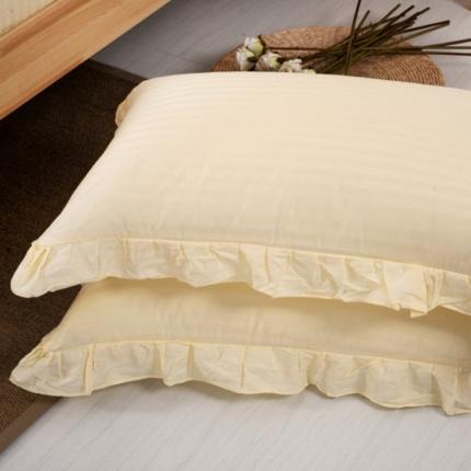 (总)爱妮玖玖全棉纯色缎条单层花边枕套一对45cm*75cm