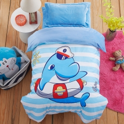 梵赫家纺 儿童水晶绒三件套【幼儿园】海豚游泳