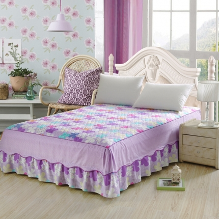 丹红家纺 全棉加棉单床裙 朵爱(紫)