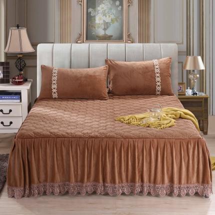 丹虹家纺 水晶绒绗缝夹棉床裙(水溶边)咖啡