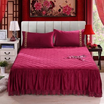 丹虹家纺 水晶绒绗缝夹棉床裙(水溶边)酒红