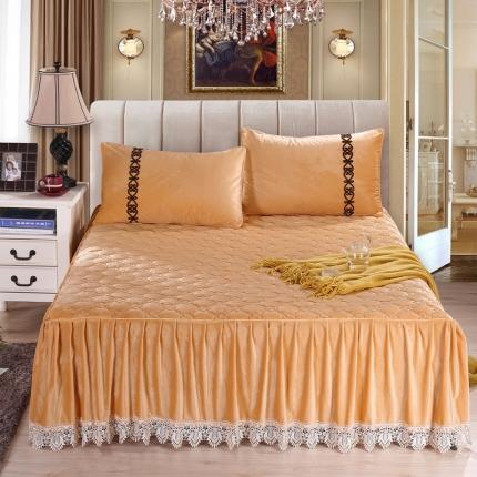丹虹家纺 水晶绒绗缝夹棉床裙(水溶边)驼色