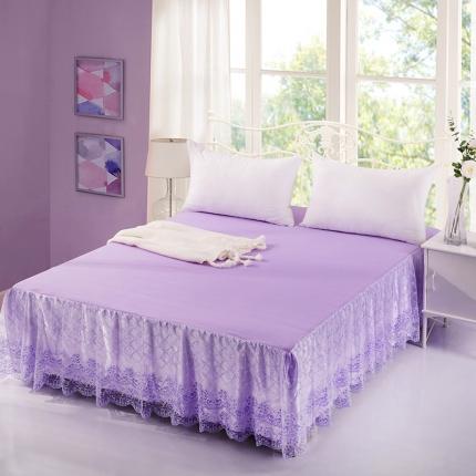 丹虹家纺 蕾丝床裙春暖花开紫色